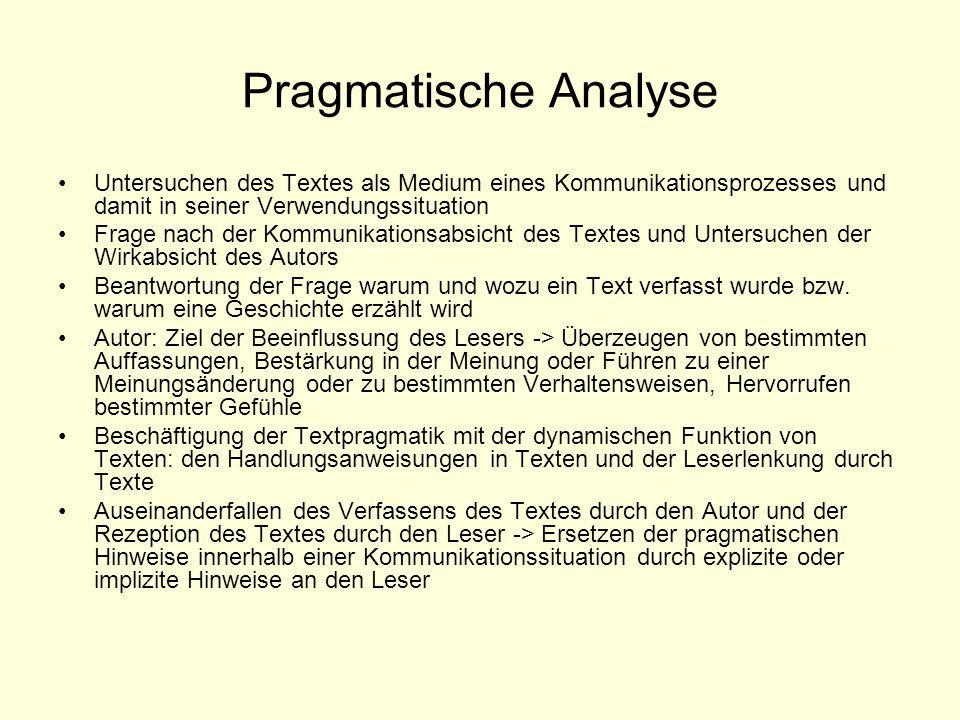 Pragmatische Analyse Untersuchen des Textes als Medium eines Kommunikationsprozesses und damit in seiner Verwendungssituation Frage nach der Kommunika