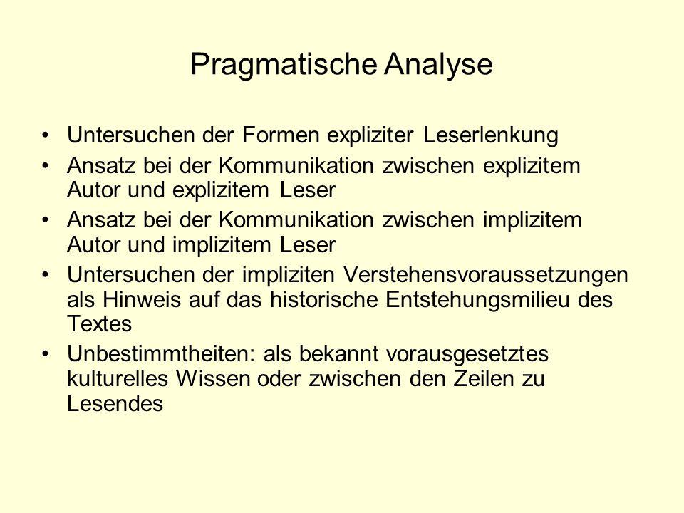 Pragmatische Analyse Untersuchen der Formen expliziter Leserlenkung Ansatz bei der Kommunikation zwischen explizitem Autor und explizitem Leser Ansatz