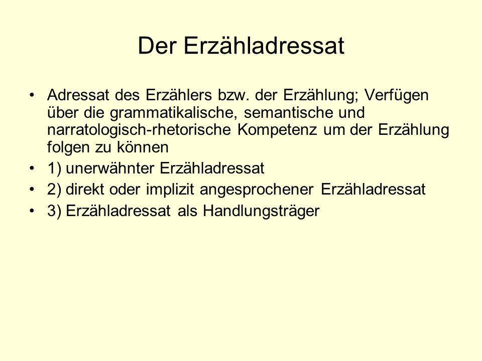 Der Erzähladressat Adressat des Erzählers bzw. der Erzählung; Verfügen über die grammatikalische, semantische und narratologisch-rhetorische Kompetenz