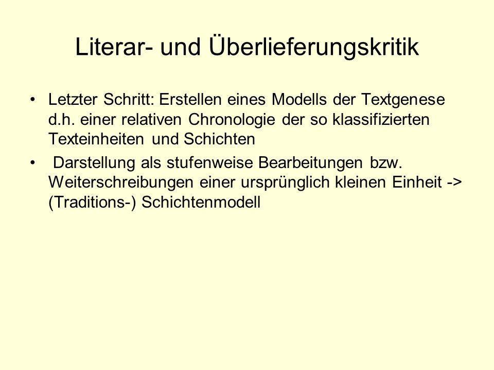 Literar- und Überlieferungskritik Letzter Schritt: Erstellen eines Modells der Textgenese d.h. einer relativen Chronologie der so klassifizierten Text