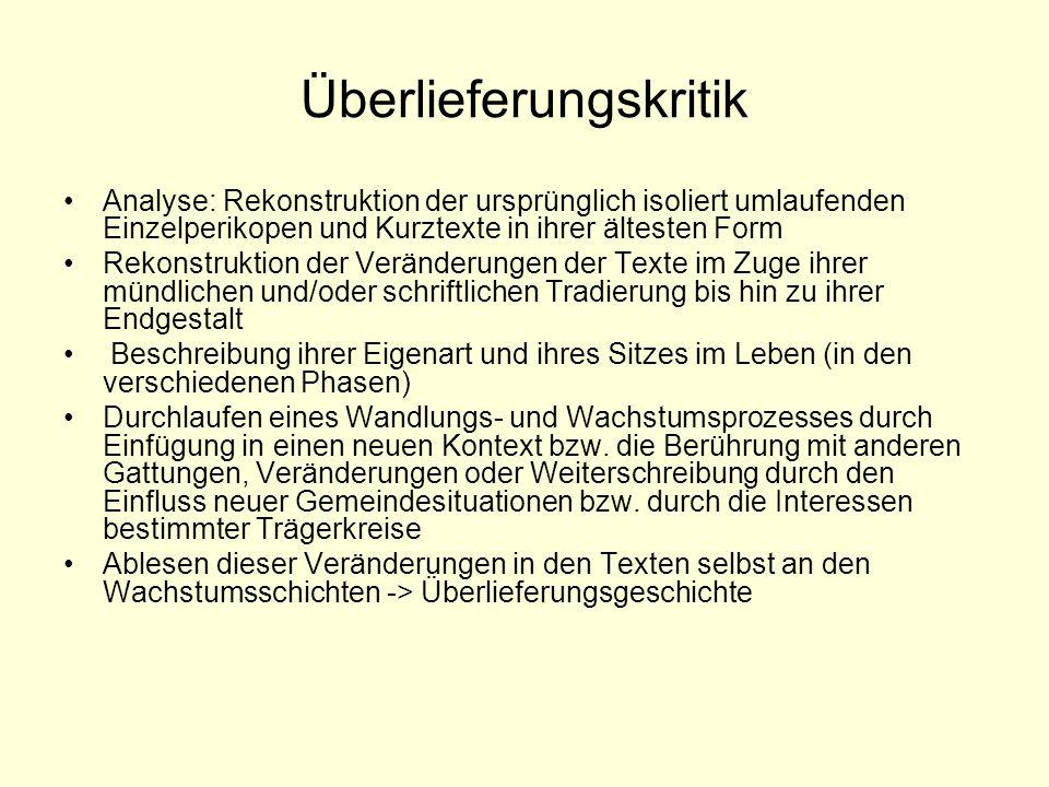 Überlieferungskritik Analyse: Rekonstruktion der ursprünglich isoliert umlaufenden Einzelperikopen und Kurztexte in ihrer ältesten Form Rekonstruktion