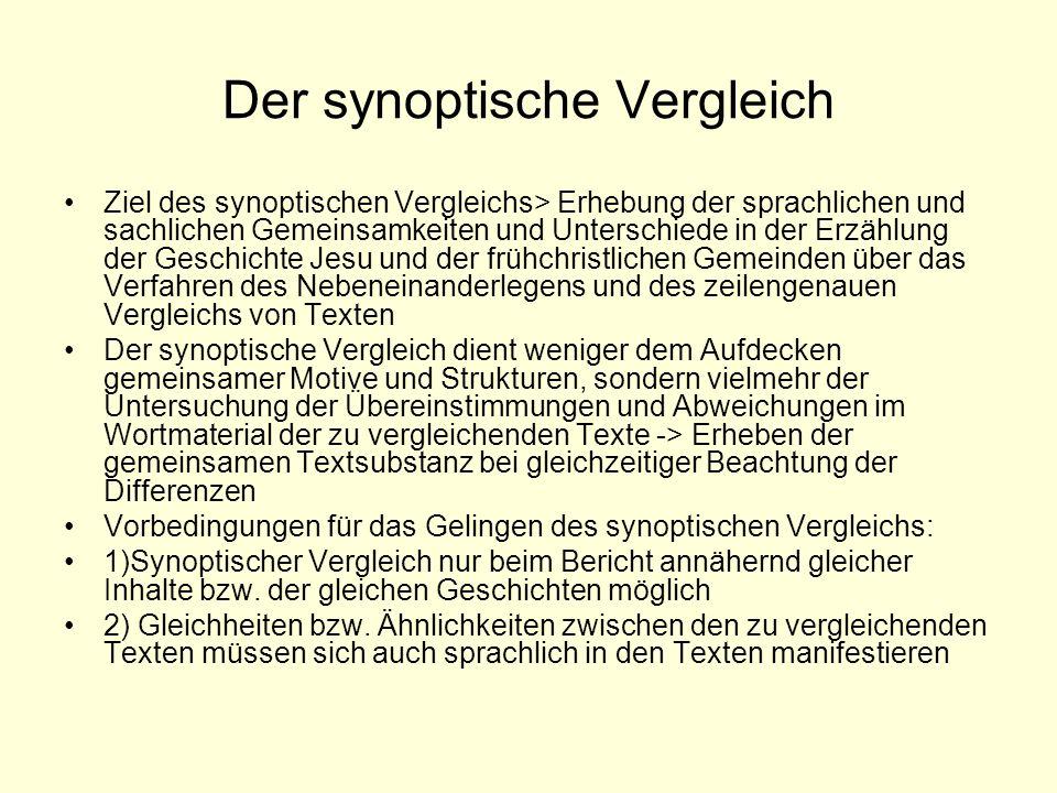 Der synoptische Vergleich Ziel des synoptischen Vergleichs> Erhebung der sprachlichen und sachlichen Gemeinsamkeiten und Unterschiede in der Erzählung