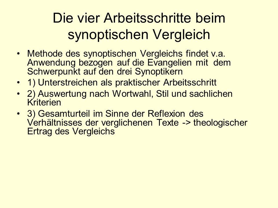 Die vier Arbeitsschritte beim synoptischen Vergleich Methode des synoptischen Vergleichs findet v.a. Anwendung bezogen auf die Evangelien mit dem Schw