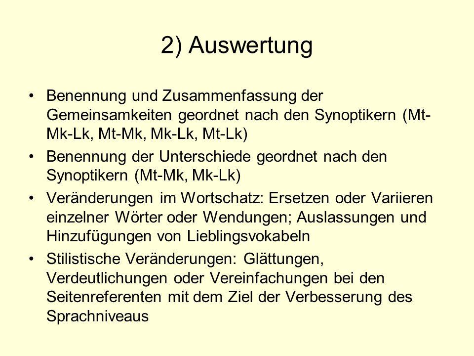 2) Auswertung Benennung und Zusammenfassung der Gemeinsamkeiten geordnet nach den Synoptikern (Mt- Mk-Lk, Mt-Mk, Mk-Lk, Mt-Lk) Benennung der Unterschi