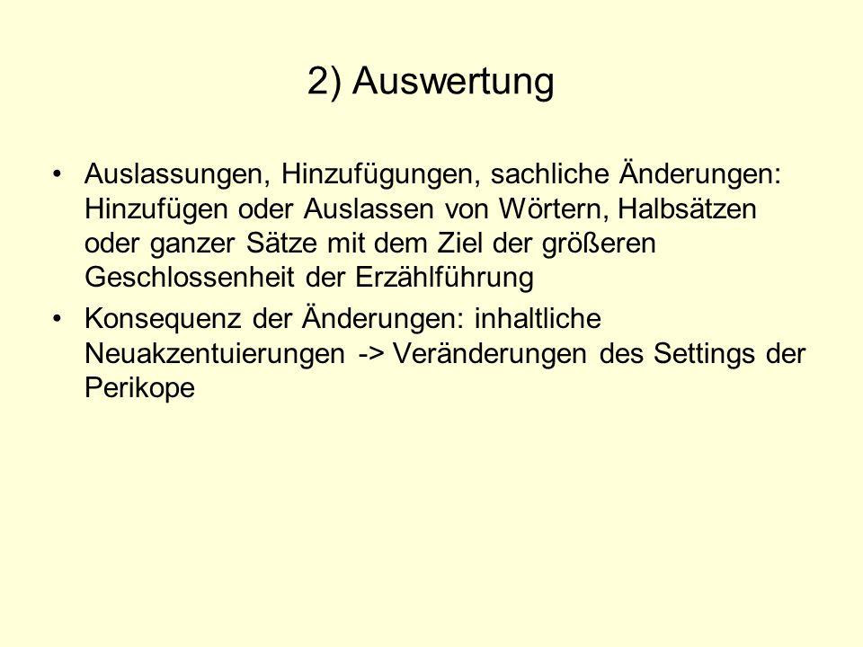2) Auswertung Auslassungen, Hinzufügungen, sachliche Änderungen: Hinzufügen oder Auslassen von Wörtern, Halbsätzen oder ganzer Sätze mit dem Ziel der