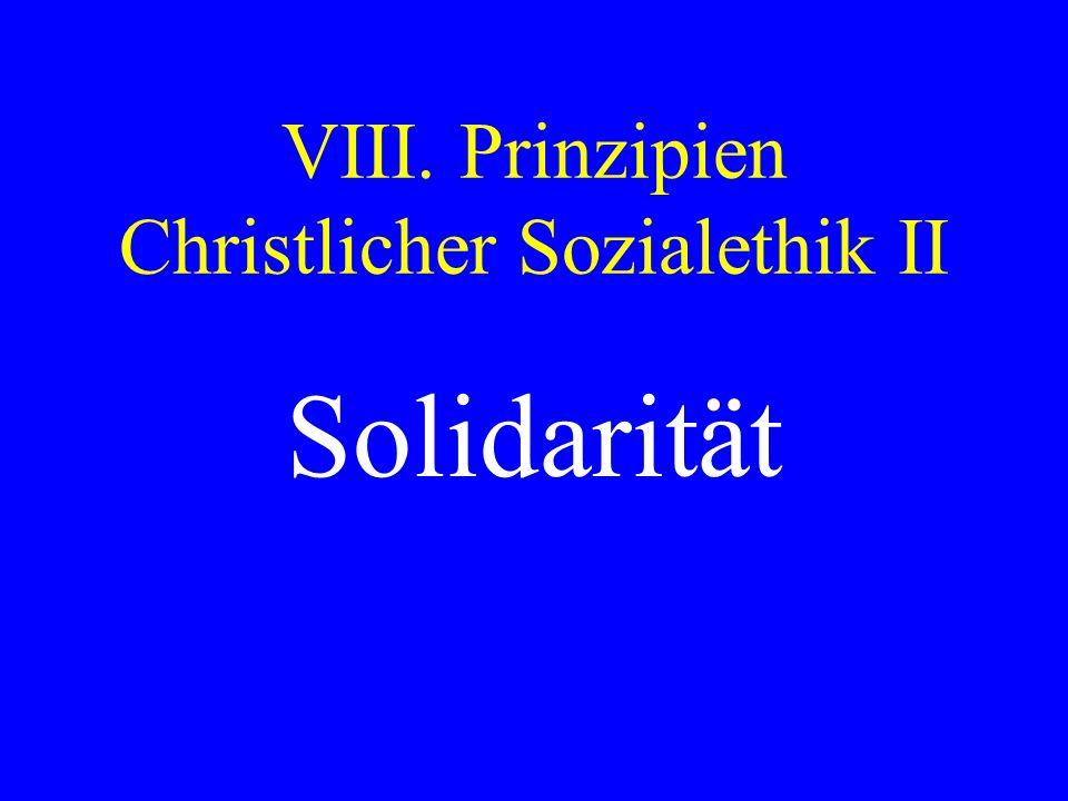 VIII. Prinzipien Christlicher Sozialethik II Solidarität