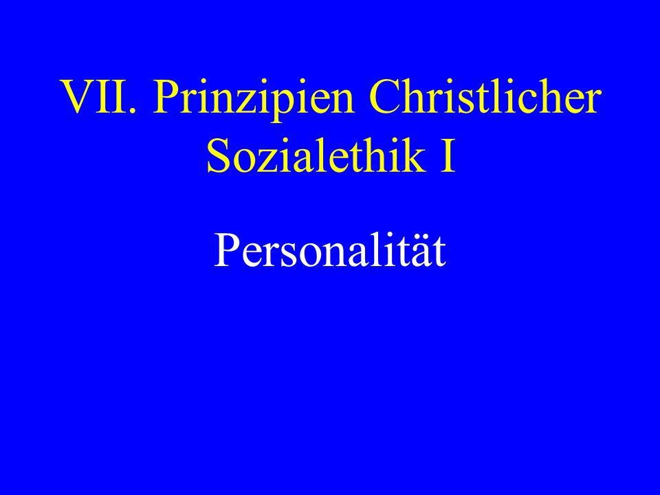 VII. Prinzipien Christlicher Sozialethik I Personalität