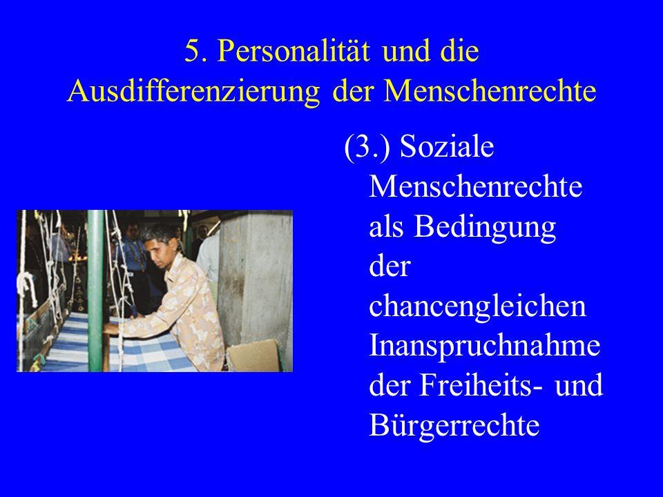 5. Personalität und die Ausdifferenzierung der Menschenrechte (3.) Soziale Menschenrechte als Bedingung der chancengleichen Inanspruchnahme der Freihe