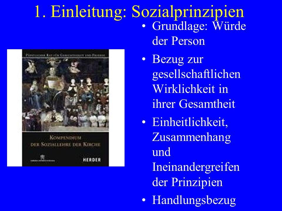 1. Einleitung: Sozialprinzipien Grundlage: Würde der Person Bezug zur gesellschaftlichen Wirklichkeit in ihrer Gesamtheit Einheitlichkeit, Zusammenhan