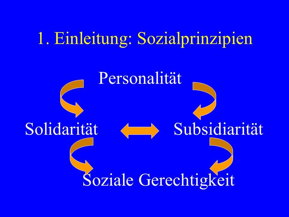 1. Einleitung: Sozialprinzipien Personalität Solidarität Subsidiarität Soziale Gerechtigkeit