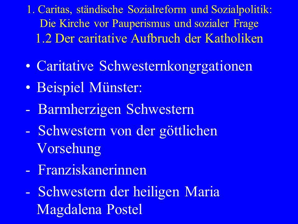 1. Caritas, ständische Sozialreform und Sozialpolitik: Die Kirche vor Pauperismus und sozialer Frage 1.2 Der caritative Aufbruch der Katholiken Carita