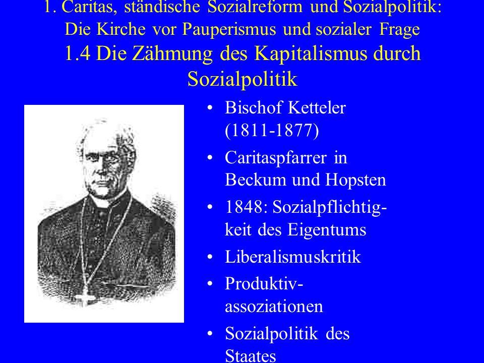 1. Caritas, ständische Sozialreform und Sozialpolitik: Die Kirche vor Pauperismus und sozialer Frage 1.4 Die Zähmung des Kapitalismus durch Sozialpoli