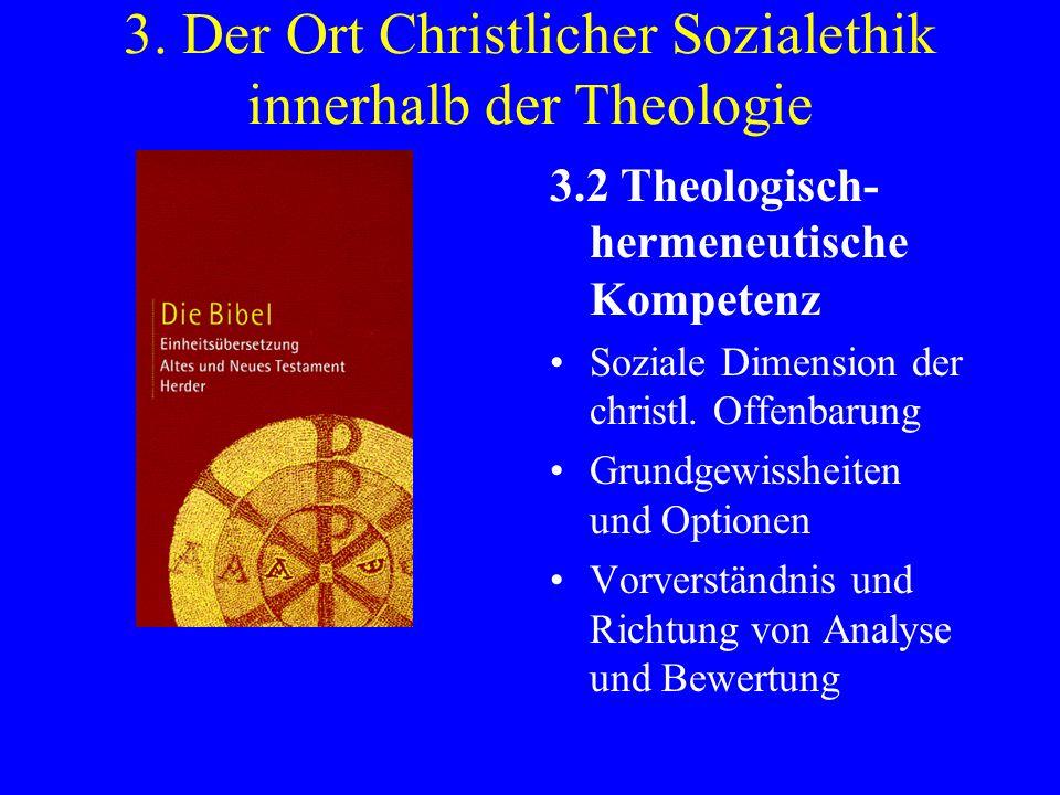3. Der Ort Christlicher Sozialethik innerhalb der Theologie 3.2 Theologisch- hermeneutische Kompetenz Soziale Dimension der christl. Offenbarung Grund
