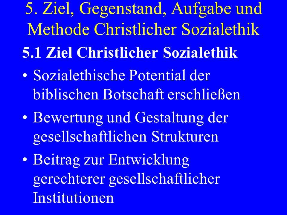 5. Ziel, Gegenstand, Aufgabe und Methode Christlicher Sozialethik 5.1 Ziel Christlicher Sozialethik Sozialethische Potential der biblischen Botschaft