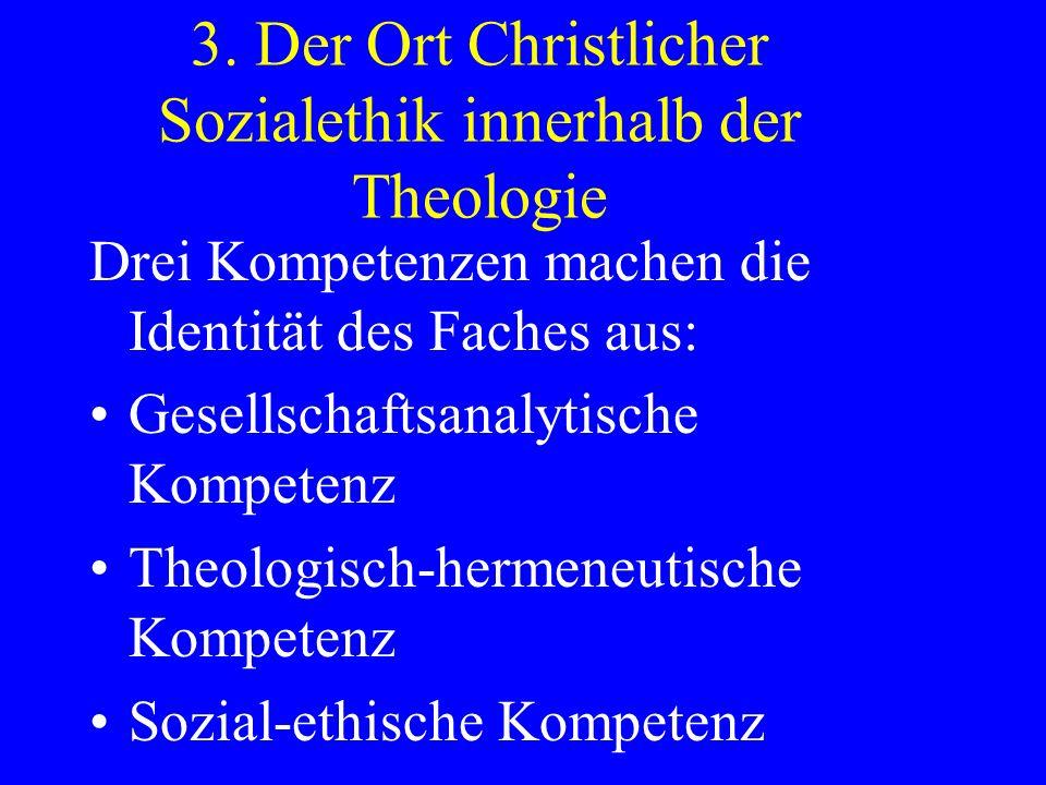 3. Der Ort Christlicher Sozialethik innerhalb der Theologie Drei Kompetenzen machen die Identität des Faches aus: Gesellschaftsanalytische Kompetenz T
