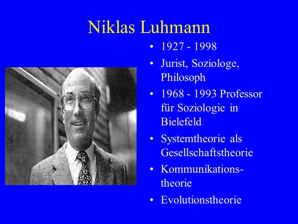Niklas Luhmann 1927 - 1998 Jurist, Soziologe, Philosoph 1968 - 1993 Professor für Soziologie in Bielefeld Systemtheorie als Gesellschaftstheorie Kommu