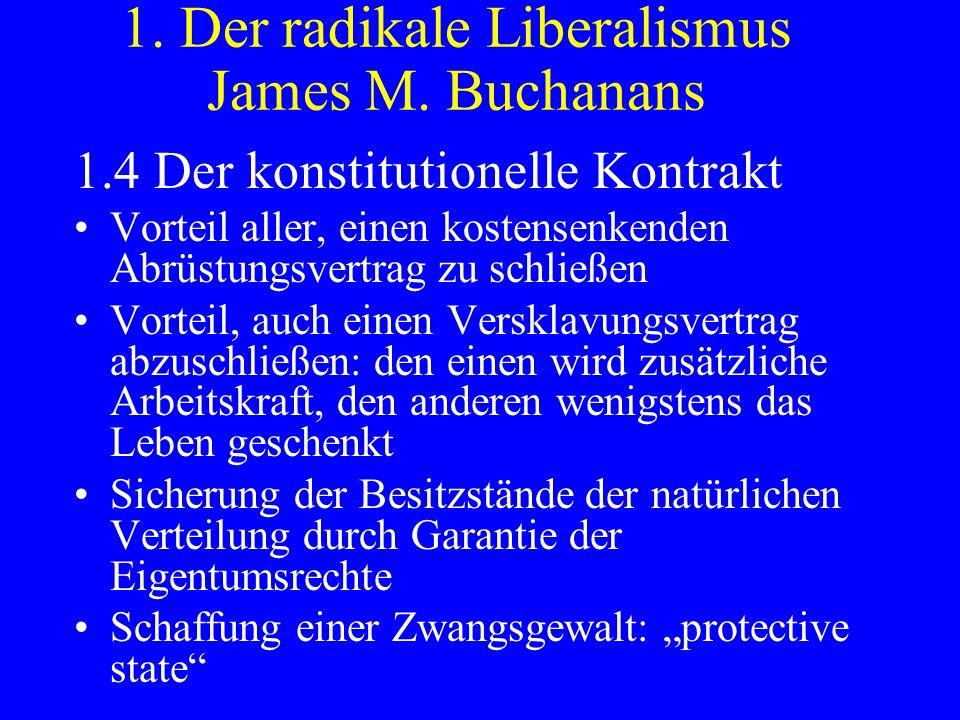 1. Der radikale Liberalismus James M. Buchanans 1.4 Der konstitutionelle Kontrakt Vorteil aller, einen kostensenkenden Abrüstungsvertrag zu schließen