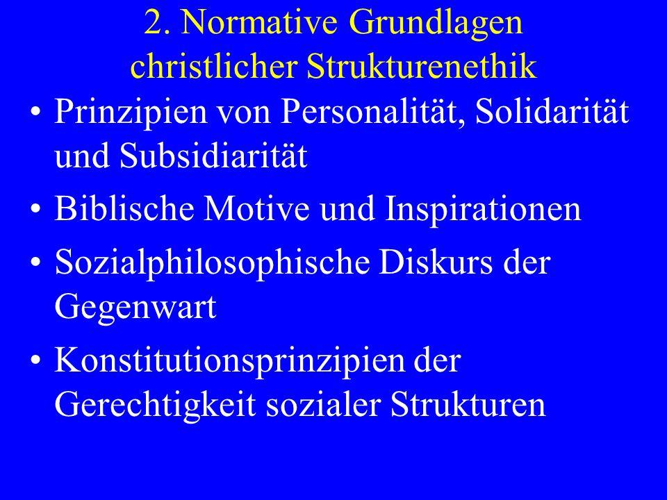 2. Normative Grundlagen christlicher Strukturenethik Prinzipien von Personalität, Solidarität und Subsidiarität Biblische Motive und Inspirationen Soz
