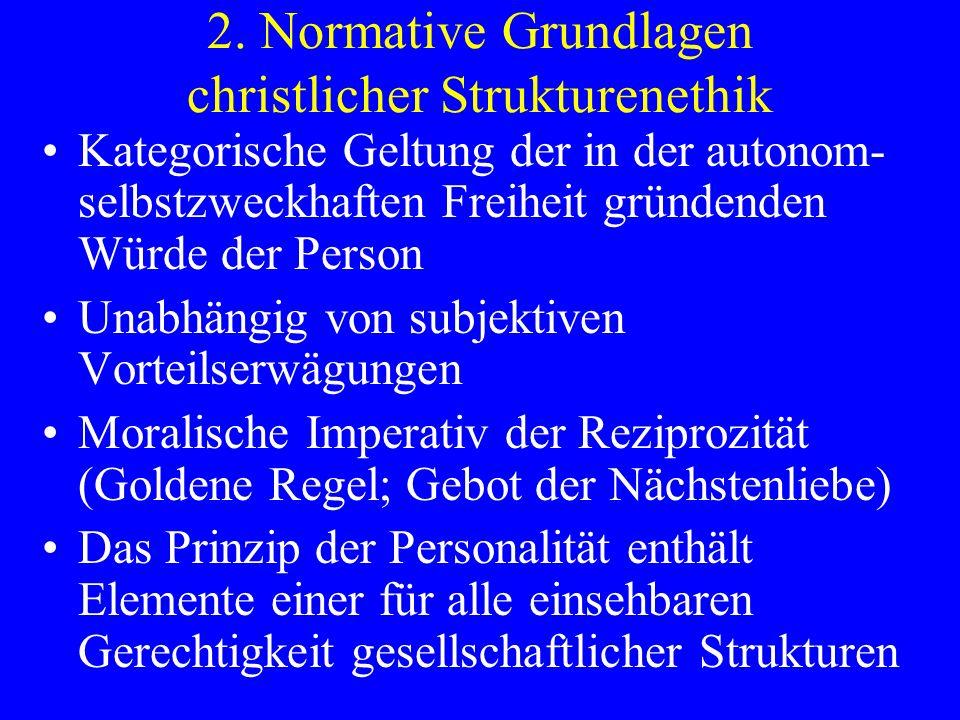 2. Normative Grundlagen christlicher Strukturenethik Kategorische Geltung der in der autonom- selbstzweckhaften Freiheit gründenden Würde der Person U
