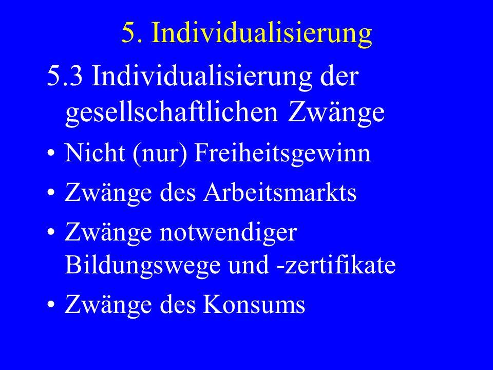 5. Individualisierung 5.3 Individualisierung der gesellschaftlichen Zwänge Nicht (nur) Freiheitsgewinn Zwänge des Arbeitsmarkts Zwänge notwendiger Bil