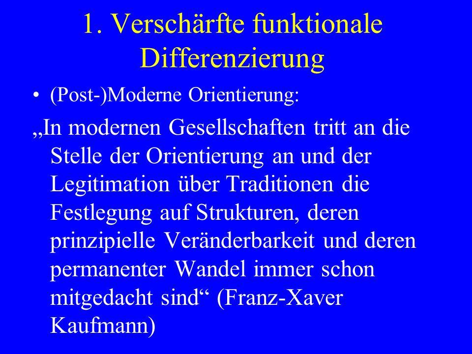 1. Verschärfte funktionale Differenzierung (Post-)Moderne Orientierung: In modernen Gesellschaften tritt an die Stelle der Orientierung an und der Leg