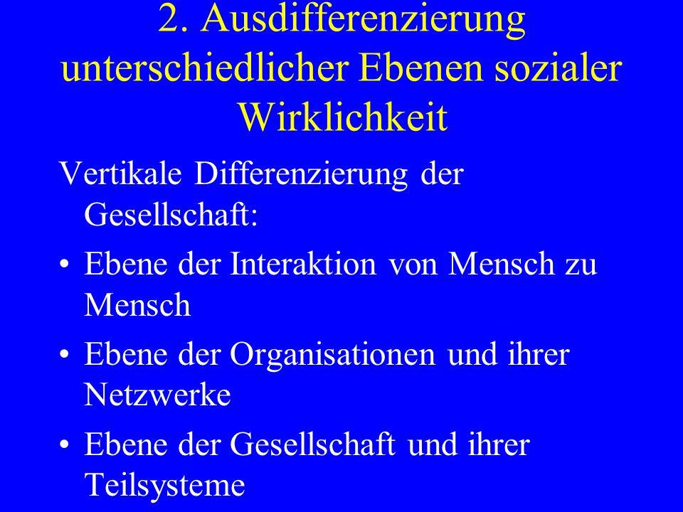 2. Ausdifferenzierung unterschiedlicher Ebenen sozialer Wirklichkeit Vertikale Differenzierung der Gesellschaft: Ebene der Interaktion von Mensch zu M