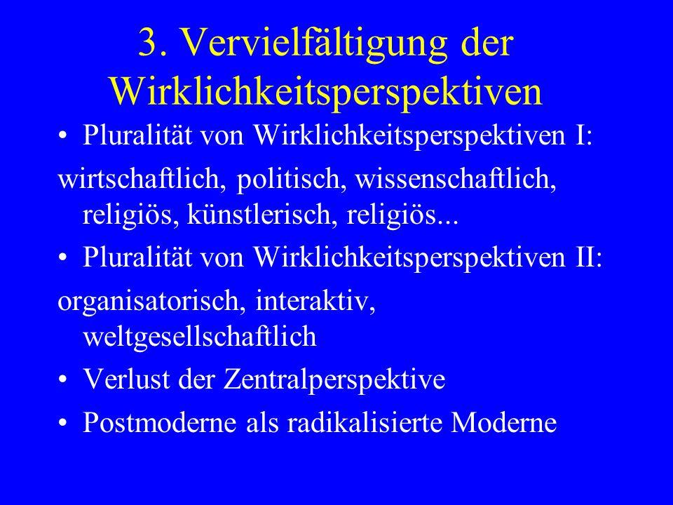 3. Vervielfältigung der Wirklichkeitsperspektiven Pluralität von Wirklichkeitsperspektiven I: wirtschaftlich, politisch, wissenschaftlich, religiös, k