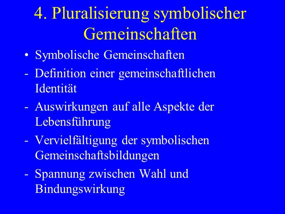 4. Pluralisierung symbolischer Gemeinschaften Symbolische Gemeinschaften - Definition einer gemeinschaftlichen Identität - Auswirkungen auf alle Aspek