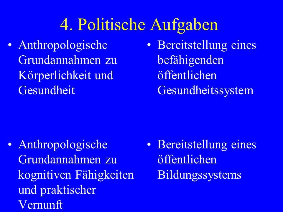 4. Politische Aufgaben Anthropologische Grundannahmen zu Körperlichkeit und Gesundheit Anthropologische Grundannahmen zu kognitiven Fähigkeiten und pr