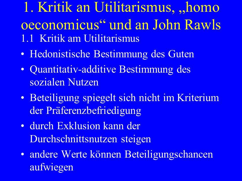 1. Kritik an Utilitarismus, homo oeconomicus und an John Rawls 1.1 Kritik am Utilitarismus Hedonistische Bestimmung des Guten Quantitativ-additive Bes