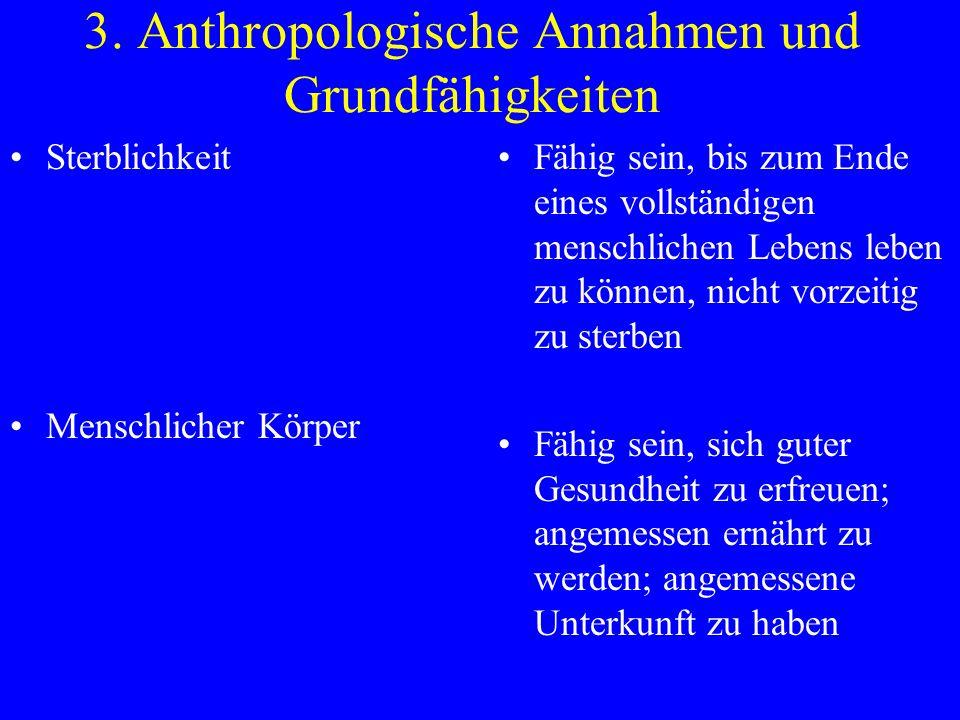 3. Anthropologische Annahmen und Grundfähigkeiten Sterblichkeit Menschlicher Körper Fähig sein, bis zum Ende eines vollständigen menschlichen Lebens l