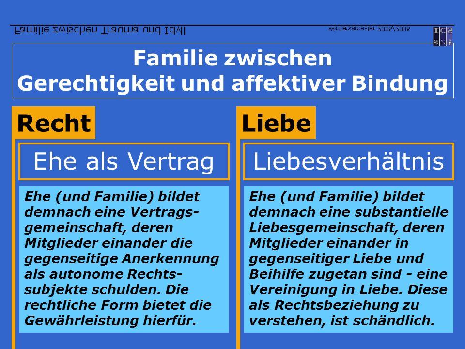 Familie zwischen Gerechtigkeit und affektiver Bindung RechtLiebe Ehe als Vertrag Ehe (und Familie) bildet demnach eine Vertrags- gemeinschaft, deren M