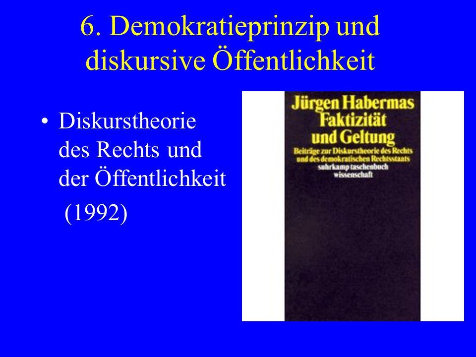 6. Demokratieprinzip und diskursive Öffentlichkeit Diskurstheorie des Rechts und der Öffentlichkeit (1992)
