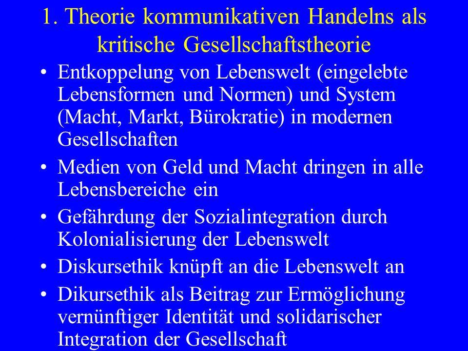 1. Theorie kommunikativen Handelns als kritische Gesellschaftstheorie Entkoppelung von Lebenswelt (eingelebte Lebensformen und Normen) und System (Mac