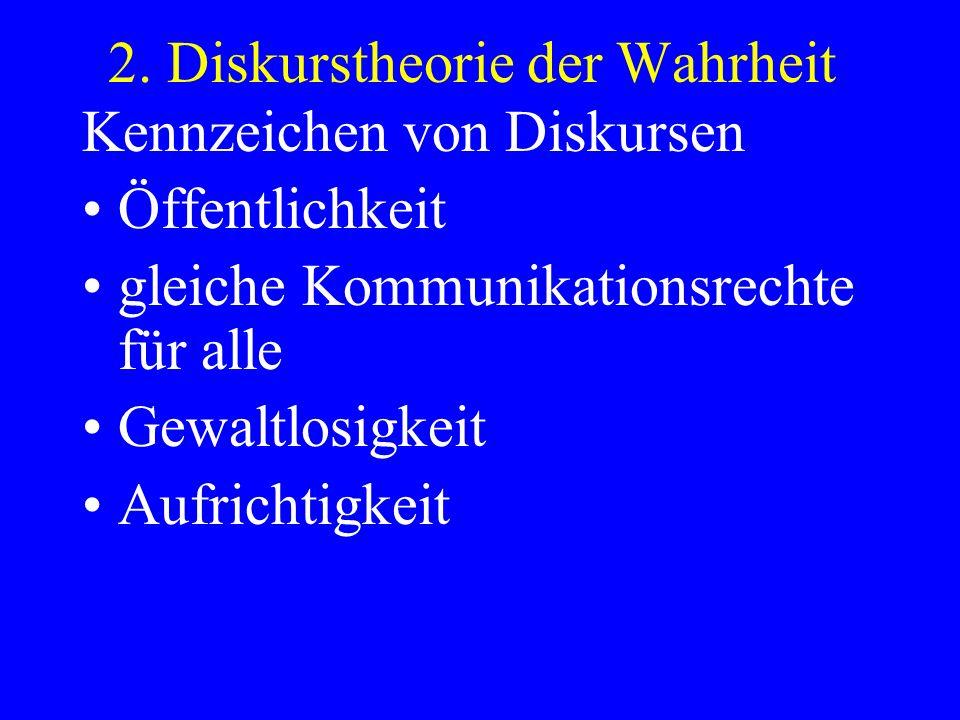 2. Diskurstheorie der Wahrheit Kennzeichen von Diskursen Öffentlichkeit gleiche Kommunikationsrechte für alle Gewaltlosigkeit Aufrichtigkeit