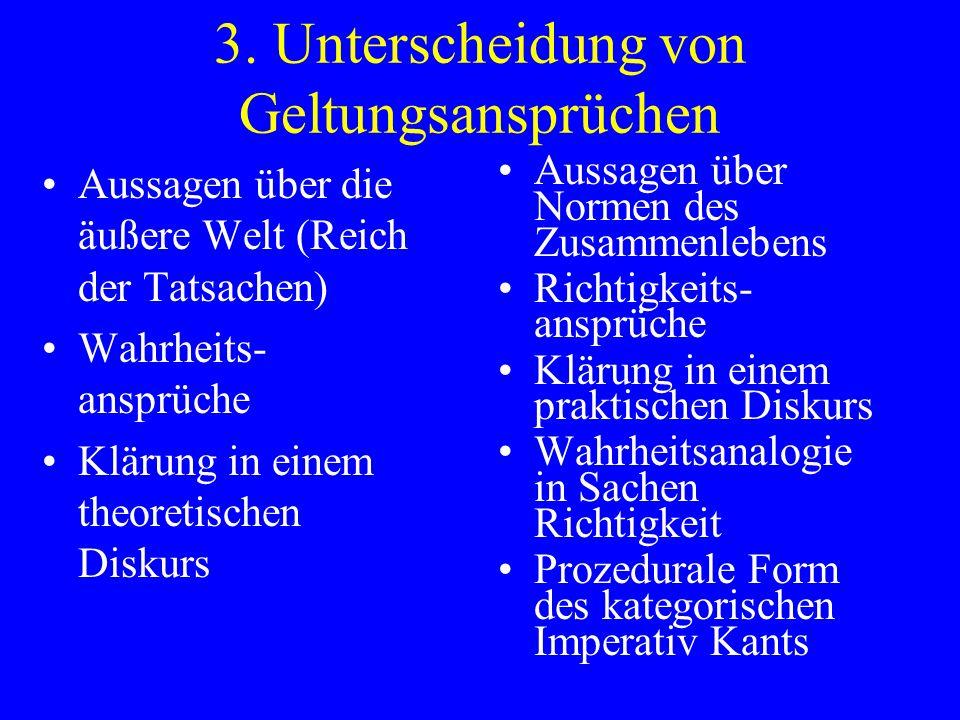 3. Unterscheidung von Geltungsansprüchen Aussagen über die äußere Welt (Reich der Tatsachen) Wahrheits- ansprüche Klärung in einem theoretischen Disku