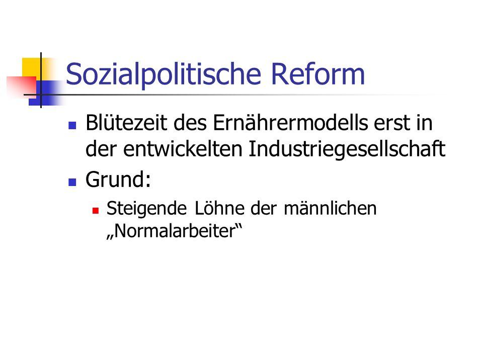 Sozialpolitische Reform Blütezeit des Ernährermodells erst in der entwickelten Industriegesellschaft Grund: Steigende Löhne der männlichen Normalarbei