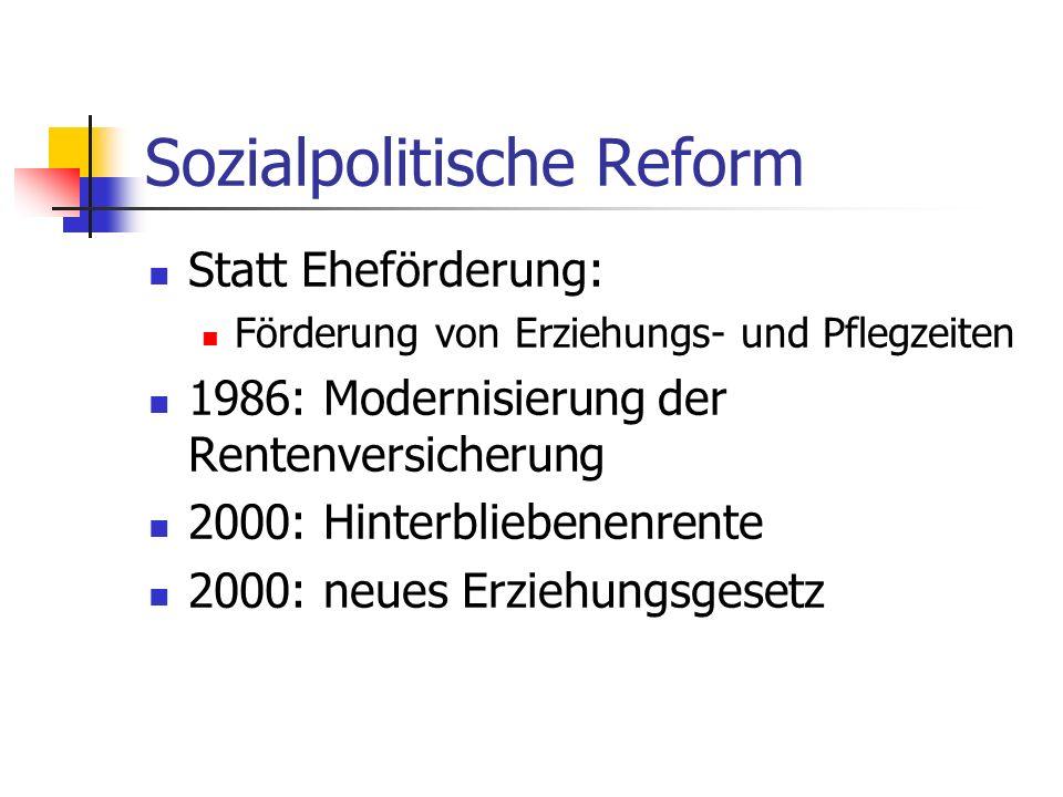 Sozialpolitische Reform Statt Eheförderung: Förderung von Erziehungs- und Pflegzeiten 1986: Modernisierung der Rentenversicherung 2000: Hinterbliebene