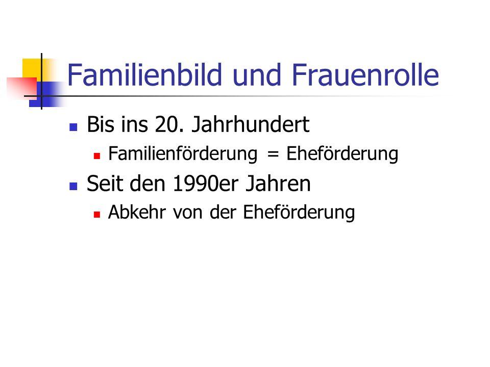 Familienbild und Frauenrolle Bis ins 20. Jahrhundert Familienförderung = Eheförderung Seit den 1990er Jahren Abkehr von der Eheförderung