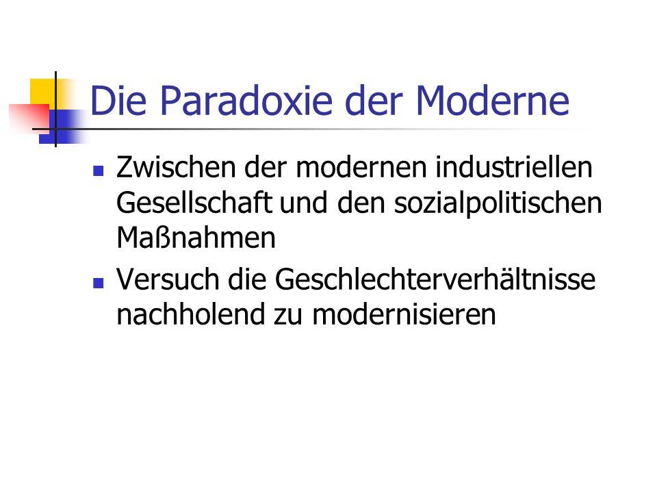Die Paradoxie der Moderne Zwischen der modernen industriellen Gesellschaft und den sozialpolitischen Maßnahmen Versuch die Geschlechterverhältnisse na
