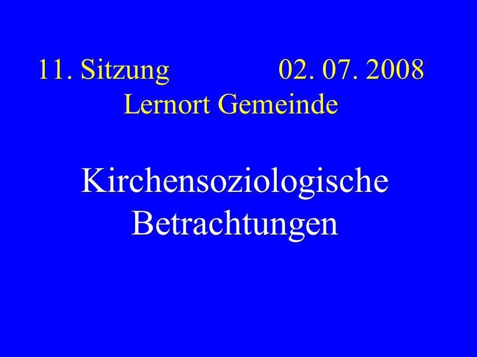 11. Sitzung 02. 07. 2008 Lernort Gemeinde Kirchensoziologische Betrachtungen