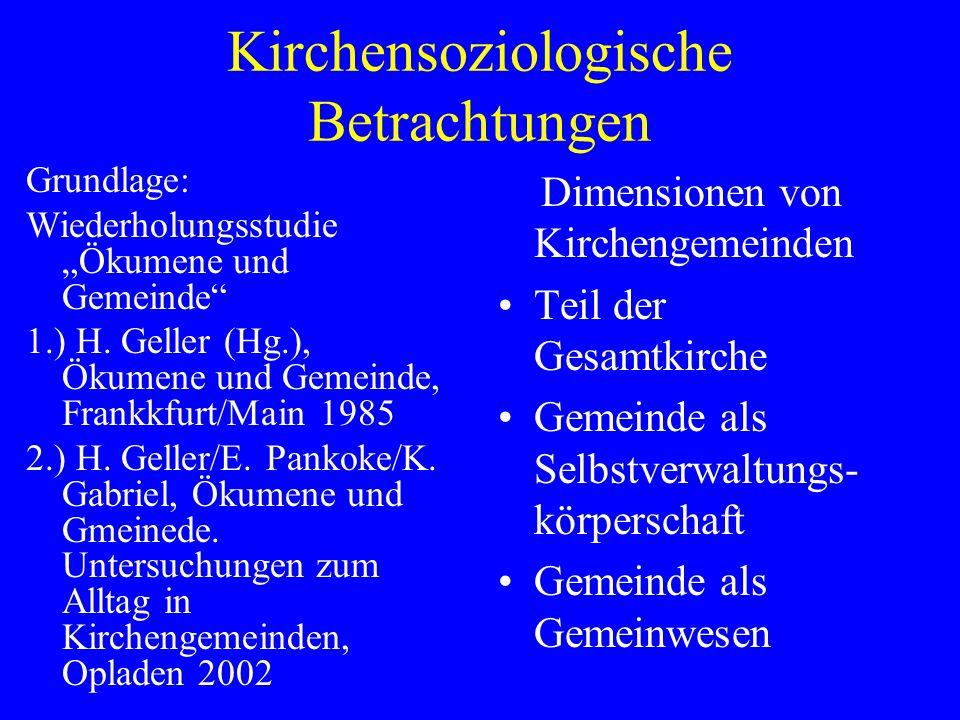 Grundlage: Wiederholungsstudie Ökumene und Gemeinde 1.) H.