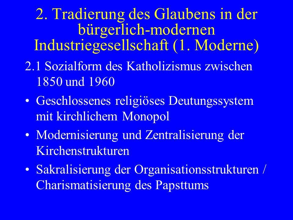 2. Tradierung des Glaubens in der bürgerlich-modernen Industriegesellschaft (1. Moderne) 2.1 Sozialform des Katholizismus zwischen 1850 und 1960 Gesch