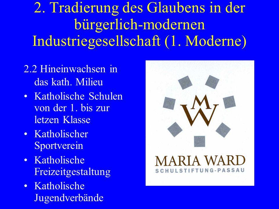 2. Tradierung des Glaubens in der bürgerlich-modernen Industriegesellschaft (1. Moderne) 2.2 Hineinwachsen in das kath. Milieu Katholische Schulen von