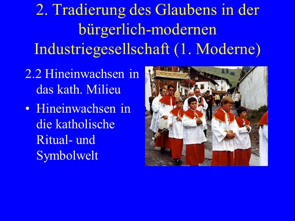 2. Tradierung des Glaubens in der bürgerlich-modernen Industriegesellschaft (1. Moderne) 2.2 Hineinwachsen in das kath. Milieu Hineinwachsen in die ka