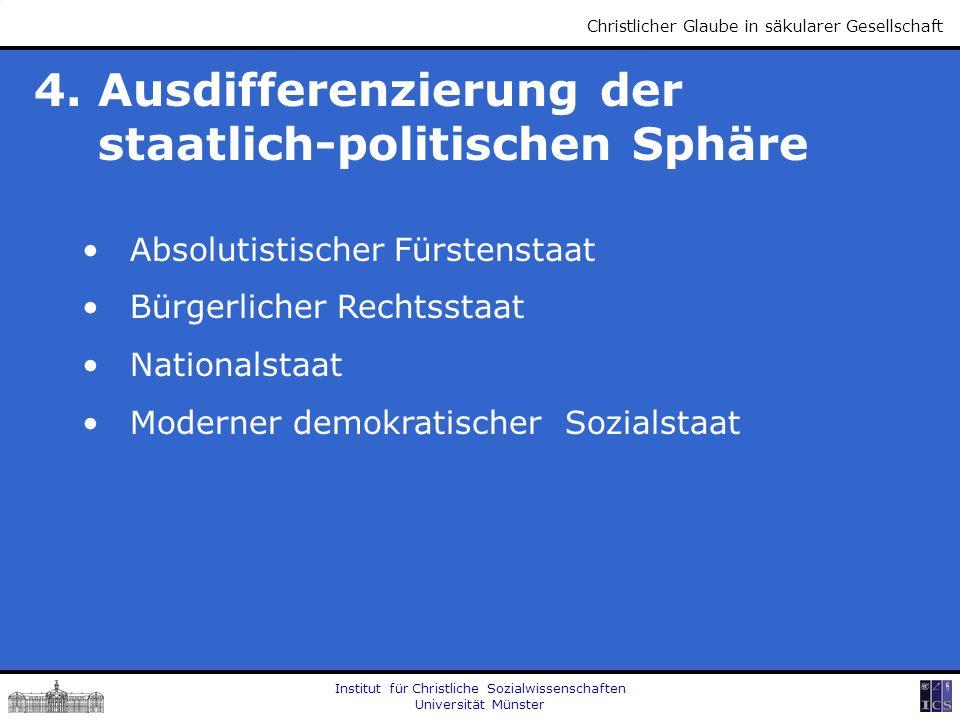 Institut für Christliche Sozialwissenschaften Universität Münster Christlicher Glaube in säkularer Gesellschaft 4. Ausdifferenzierung der staatlich-po