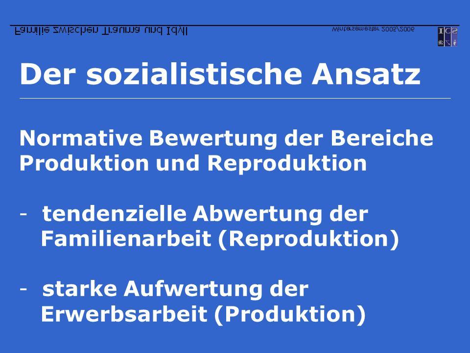 Der sozialistische Ansatz Normative Bewertung der Bereiche Produktion und Reproduktion -tendenzielle Abwertung der Familienarbeit (Reproduktion) -star