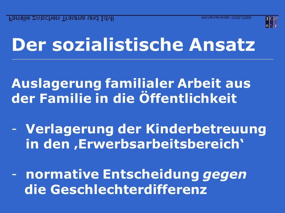 Der sozialistische Ansatz Auslagerung familialer Arbeit aus der Familie in die Öffentlichkeit -Verlagerung der Kinderbetreuung in den Erwerbsarbeitsbe