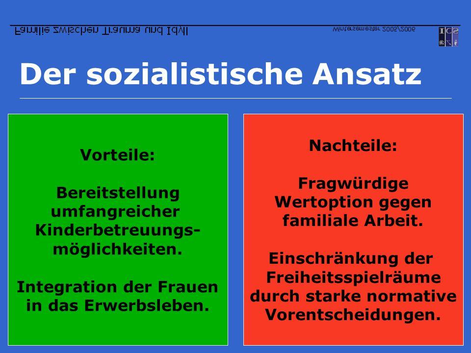 Der sozialistische Ansatz Vorteile: Bereitstellung umfangreicher Kinderbetreuungs- möglichkeiten. Integration der Frauen in das Erwerbsleben. Nachteil