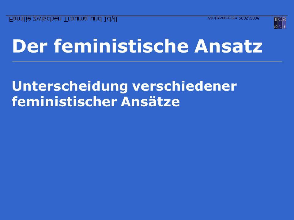 Der feministische Ansatz Unterscheidung verschiedener feministischer Ansätze